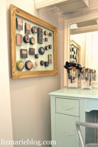 bath ideas: magnets behind your cosmetics....