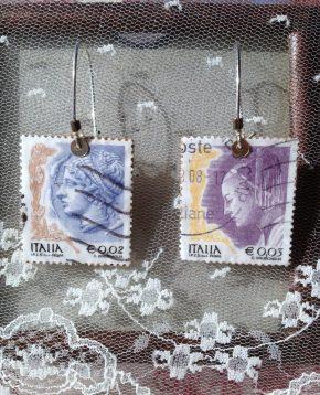 Αγορά: Σκουλαρίκια και σέτ δαχτυλίδια με συλλεκτικά ιταλικά γραμματόσημα/ Purchace: Ear-rings and rings with italianstamps