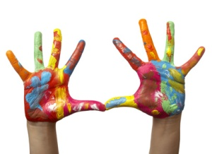 color painted child hand