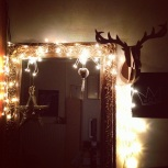 my cardboard deer head at night