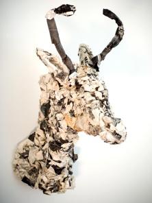 newspaper and wire deer head