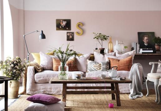 pastel feminine living room