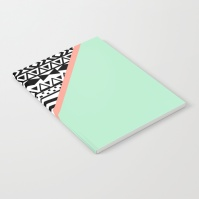 block--black-white-aztec-pattern-mint-green-color-block-notebooks